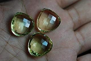 Jewel Beads Natural Beautiful jewellery 3 Pieces Set, AAA Natural LEMON Quartz Faceted Match Heart Briolettes 20mmCode:- JBB-38175