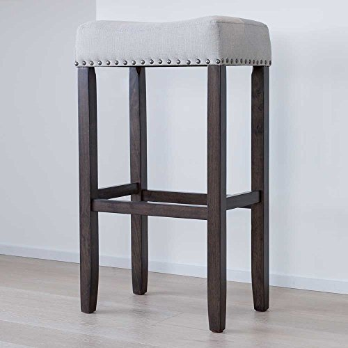 "Nathan James 21402 Hylie Nailhead Wood Pub-Height Kitchen Bar Stool, 29"", Gray"