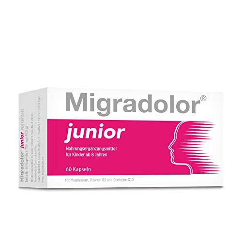 Migradolor Junior - Migräne und Kopfschmerzen bei Kindern (ab 8 Jahren) und Jugendlichen behandeln I Natürliche Inhaltsstoffe (60 Kapseln)