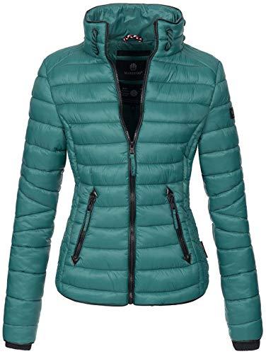 Marikoo Damen Jacke Steppjacke Übergangsjacke gesteppt mit Kordeln Frühjahr Camouflage B405 (XS, Ocean Green)