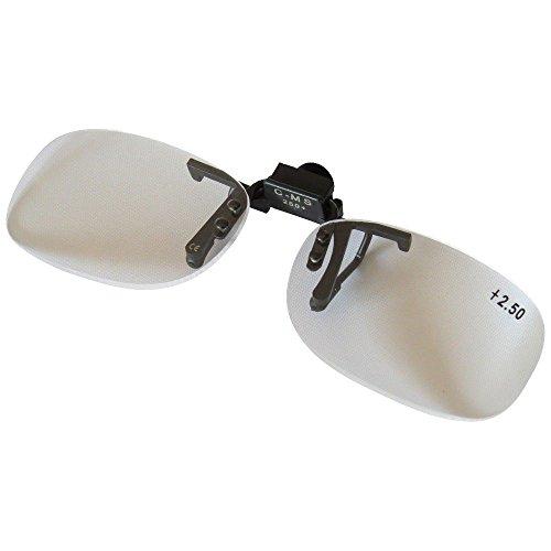 Clip Vorsetzbrille | +2,5 Vergrößerung | Vergrößerungsbrille | Lesebrille | Arbeitsbrille | Modellbau | Lupe | inkl. Etui