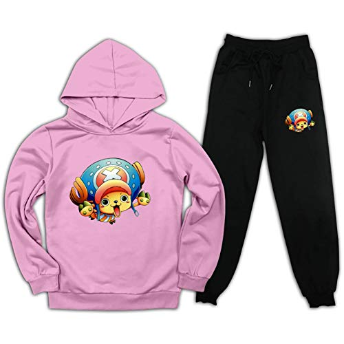 Jsmllia Kids o-ne pi-ece cho-pper Tracksuits Set Anime 2 Piece Outfit Sportwears for Boys Girls S Pink and Black