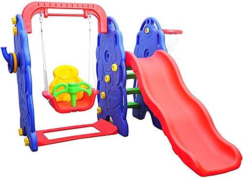 Toboganes y columpios de plástico de alta calidad, canasta de baloncesto juguetes de jardín para niños mayores de 3 años,Multicolored