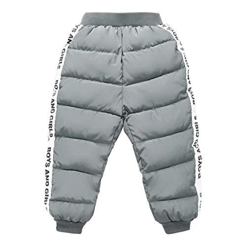 Happy Cherry Baby Dicke Warm Schneehose mit elastischem Bund Kinder Winterhose Leichte Daunenhose Winddicht Sporthose Outdoorhose Grau - Größe 120