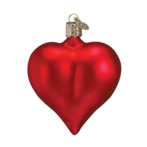 Old World Christmas Assortment Glass Blown Ornaments for Christmas Tree,Large Matte Red Heart