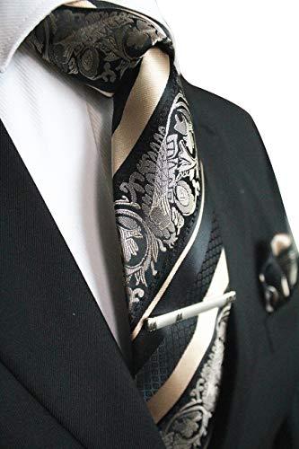 JEMYGINS Gold Krawatte Blumen Seidenkrawatten und Einstecktuch mit krawattenklammer Sets für Herren Seide Schlip (6)