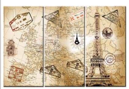 Wjwiang 3 Retro World Map Posters en Prints Modern Europa Travel Map Wall Art Canvas Modular Picture for Home Decor 30x60cmx3 unframed Pt7282