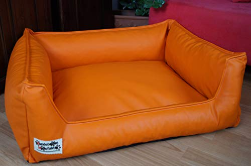 Hundebett Hundesofa Schlafplatz Kunstleder Acceso Farbe und Größe wählbar von XS bis XXL (80 cm X 60 cm, orange)
