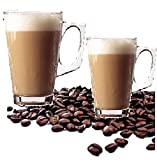 DFL Large Latte Glass Tea Coffee Cups - Compatible with Most Coffee Machines (2 Pack) Ideal for Using When Drinking Lattes, Cappuccinos, Hot Chocolate Makes a Great Gift