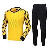 (Camiseta + Pantalones) de Largo de la Manga de Fútbol Portero Jersey, Traje 2XS-3XL Ligera compresión Entrenamiento de fútbol, los Aficionados al Deporte entrenam Yellow-XXXL