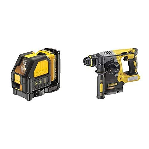 Dewalt DCE088D1G 0.8V Self Leveling Cross Line Green Laser (1 x 2.0Ah Battery), Black/Yellow, 1 x 10.8 Volt 2.0Ah Li-Ion & DCH273N 18V XR Li-Ion SDS Plus Rotary Hammer Drill, 18 W, 18 V, Yellow/Black