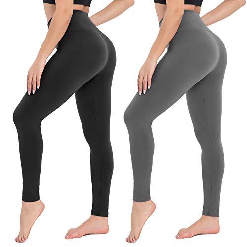Campsnail Damen Leggings Sporthose mit Hohem Bund - Lang Yogahose Laufhose Fitnesshose Leggins Yoga Sport Leggings Tights für Damen zum Laufen, Radfahren, Fitness-2er Pack- Schwarz& Dunkelgrau-42-48