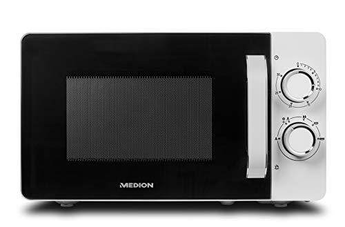 MEDION Mikrowelle, 20 Liter, 700 Watt, 6 Leistungsstufen, Timer, Zeitschaltuhr, Auftaufunktion, MD18687, weiß
