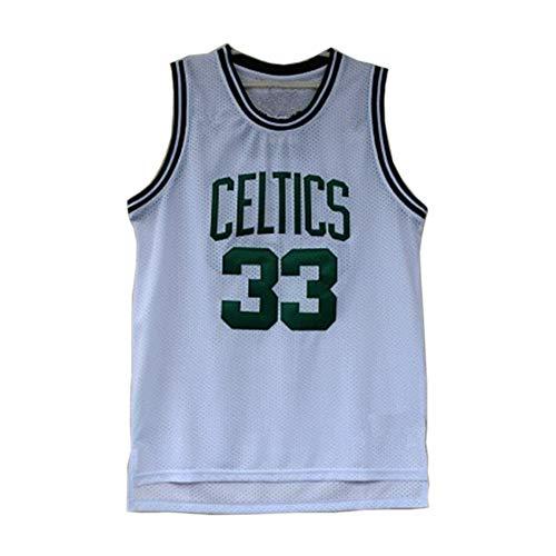 Basketball-Trikot, Boston Celtics # 33 Mitchell & Ness Larry Bird Retro-Netz-Sticktrikot, Ärmelloses Unisex-T-Shirt,Weiß,XL