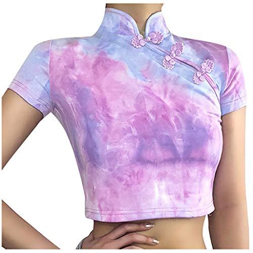 Nyuiuo Moda para Mujer Tie-Dye Impreso Estilo Cheongsam Botón de Cuello Alto Manga Corta Cuello Abierto Camiseta Top Slim Short Summer Casual Casual Shirt