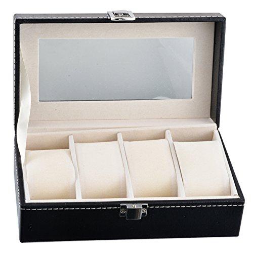 HooAMI 1 Schwarz Uhrenbox Schachtel Uhrdisplay 4 Faecher Fuer Mann Frau 20cmx11cm