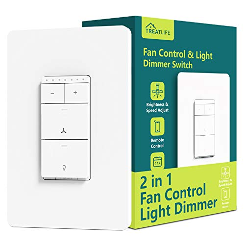 Smart Ceiling Fan Control and Dimmer Light Switch, Neutral Wire Needed, Treatlife Single Pole Wi-Fi Light Switch Fan Speed Control, Works with Alexa/Google Home, Smart Home Remote Control (1PACK)