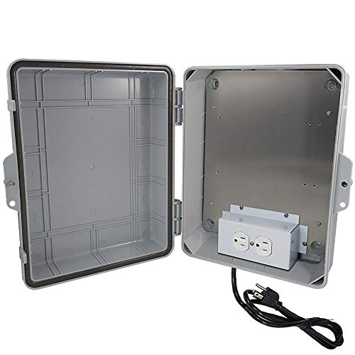 Altelix NEMA Enclosure 14x11x5 (9.5' x 8' x 4' Inside Space) Polycarbonate + ABS Weatherproof with Aluminum Equipment Mounting Plate, Pre-Wired 120 VAC Outlets, 5 Foot Power Cord