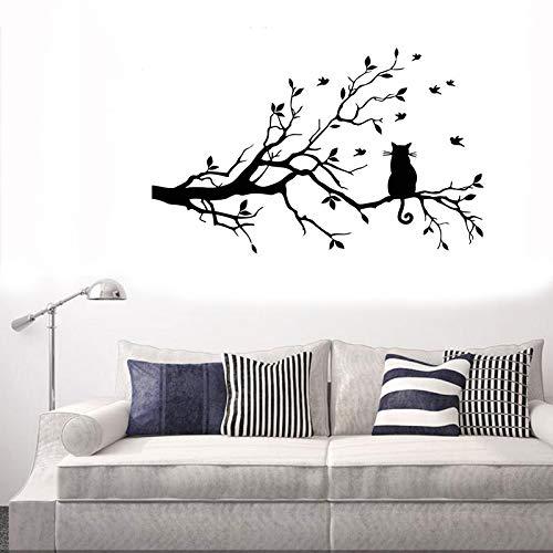 LZYMSZ Chat Eachant Sur Une Branche et Chien 3D Mignon Fenêtre Art Autocollant Amovible Bricolage...