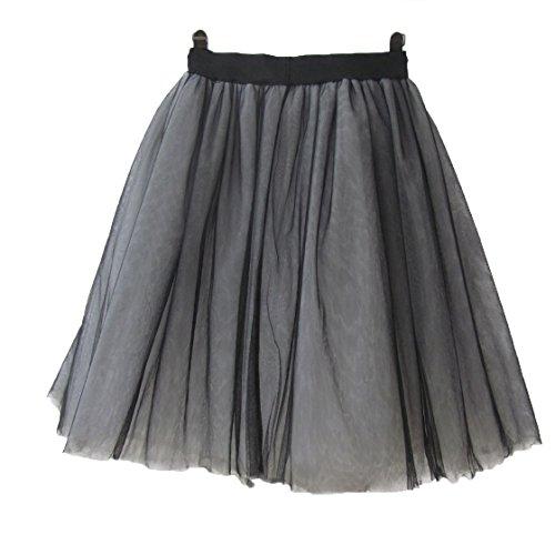 URVIP Damen's Rock Tutu Tuturock Tütü Petticoat Tüllrock 6 Schichten mit Gummizug für Karneval, Party und Hochzeit XL Schwarz und Weiß