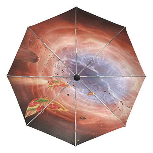 VVIEER Automatic 3 Folds Stand Pizza in Space Lightweight Compact Small Travel Umbrella