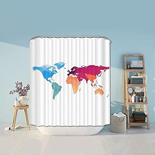 Weltkarte Duschvorhang Duschvorhang Polyestervorhang für Badezimmer Weißer Badvorhang Badezimmer Duschvorhang 180x200cm