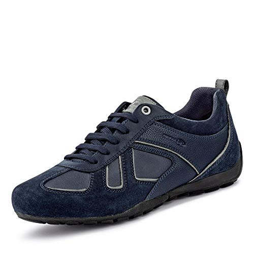 Geox Herren Low-Top Sneaker RAVEX, Männer Sneaker,Halbschuh,Sportschuh,Schnürschuh,atmungsaktiv,BLAU,42 EU / 8 UK