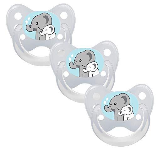 DENTISTAR® Schnuller 3er Set - Silikon Nuckel in Gr. 1 von Geburt an, 0-6 Monate - zahnfreundlich & kiefergerecht - Beruhigungssauger für Babys - Made in Germany - BPA frei - Elefanten transparent