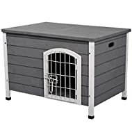 PawHut Wooden Dog Kennel Crate Pet House Wire Door Openable Top Removable Bottom Grey 80 x 55 x 53.5...
