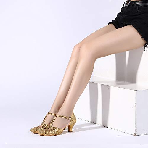 YKXLM Damen & Mädchen Ausgestelltes Tanzschuhe/Standard Ballsaal Latein Dance Schuhe,DE511-5,Gold,EU 39 - 4