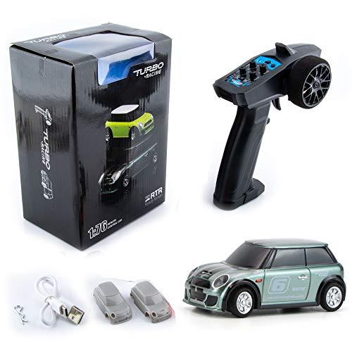Ready to Run 1:76 Scale 2.4Ghz Mini RC Car Radio Remote Control Micro Racing Car Toy DIY Car Shell for Boys Kids Gift (Green)