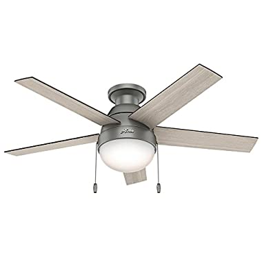 Hunter 59270 Anslee Low Profile Matte Silver Ceiling Fan With Light, 46