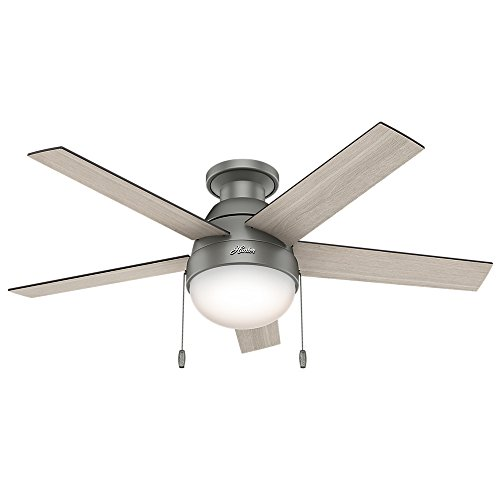 """HUNTER 59270 Anslee Indoor Low Profile Ceiling Fan with LED Light and Pull Chain Control, 46"""", Matte Silver"""