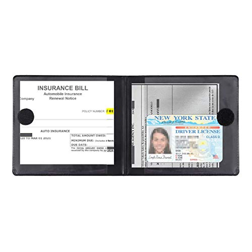MICUB Auto Car Essential,Car Registration and Insurance Card Black Documents Holder 2-Pack,For Car,Truck,Suv and Other Vehicle,Case Wallet for Car Documents Organizer