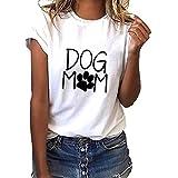 JUTOO 2019 Ropa de Mujer Camiseta Holgada con Estampado de mamá de Perro de Manga Corta para Mujer Camiseta Informal con Cuello o Top S-XXXL