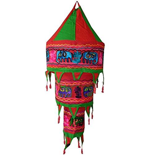 ABAT-JOUR indien rouge et vert éléphants 75 cm Lanterne patchwork en coton éclairage luminaire lampe tissu indien décoration intérieur