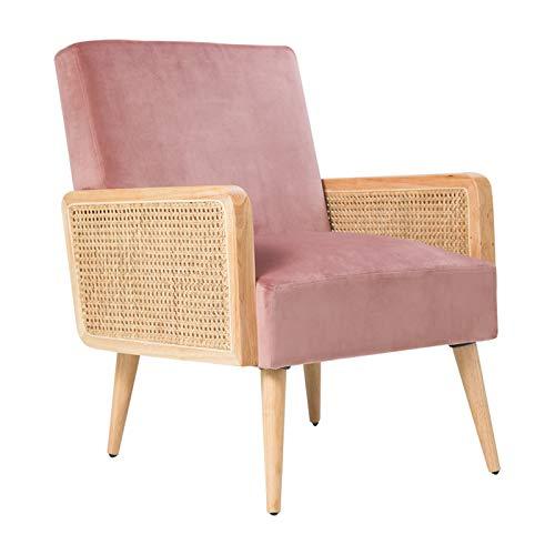 Loungesessel Samt mit Rattan Armlehne Relaxsessel Einfach zu Installierender Polsterstuhl für Wohnzimmer und Schlafzimmer Balkon Sessel Holz Modern Samt Stuhl bis 150 kg Rose 64.5W X 74D X 83H cm