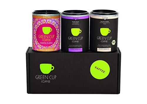 Green Cup Coffee Kaffee Probierset - sortenreine, fair gehandelte Arabica Kaffeebohnen - Kaffee Bohnen aus Costa Rica, Guatemala & Peru - 3x 45g ganze Bohne