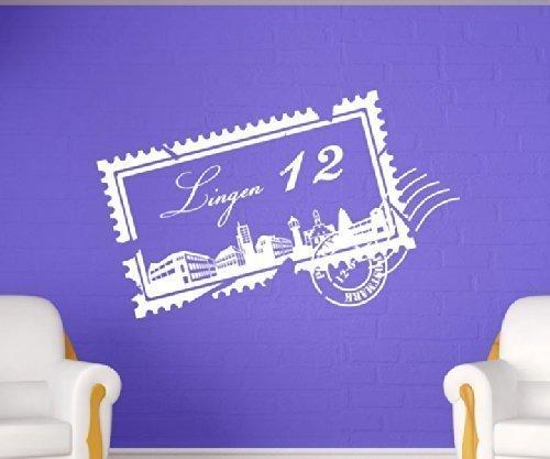 Wandtattoo Skyline Lingen Stadt Stamps Briefmarke Marke Wand Aufkleber Türaufkleber Möbelaufkleber Autoaufkleber Wohnzimmer 5M214, Farbe:Pastellorange glanz, Breite vom Motiv:85cm