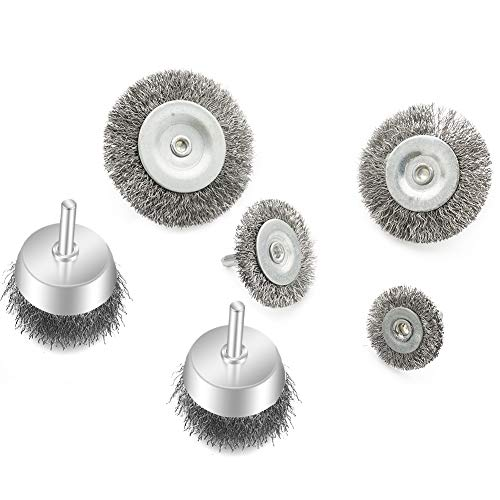 Wire Wheel Cup Brush Set 6 Piece,Wire Brush for Drill 1/4 Inch Arbor 0.0118 Inch Coarse Brass Coated Crimped Wire Wheel for Cleaning Rust, Stripping and Abrasive, for Drill Attachment