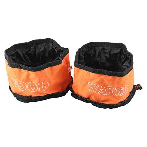 Sourcingmap Camping Wandelen Reizen Dubbele Huisdier Voedsel Water Kom, Oranje/Zwart