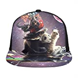 CharlesCameron Galaxy Cat Riding A Unicorn in Planet SpaceprintAdjustable Flat-Brimmed Baseball Cap Unisex Hip Hop Dance Cap Sun Hat New