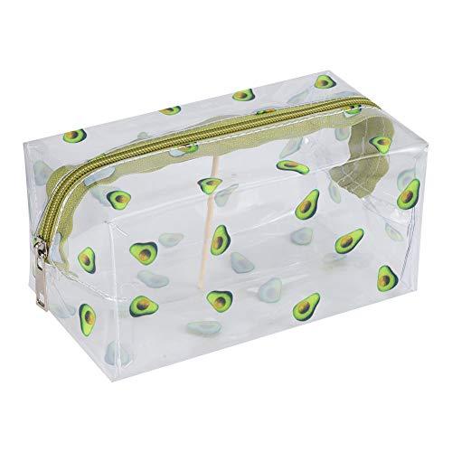 tiopeia Transparente Kosmetiktasche, Cartoon Make-up Tasche, PVC Durchsichtige Make-up-Tasche, Reise Kosmetiktäschchen, Tragbare Federmäppchen für Mädchen(Avocado)