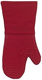 All-Clad Textiles Heavyweight 100-Percent Cotton Twill and Silicone Oven Mitt, Chili by All Clad Textiles