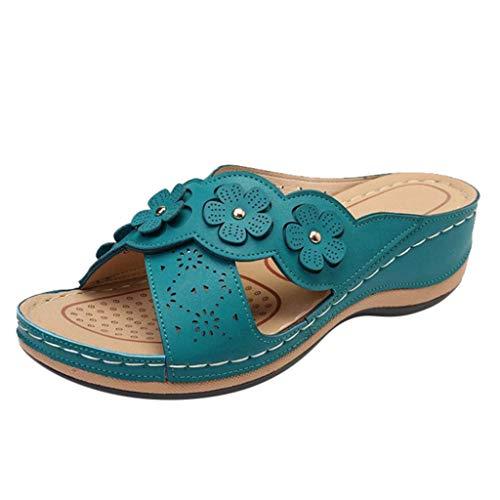 Sannysis - Pantofole da donna con zeppa, estive, con plateau, comodi, ortopedici, eleganti sandali da donna Blu 42