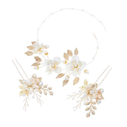 Lurrose Flor Tocados de Novia Perlas Diadema Floral de Cristal Y Horquillas...