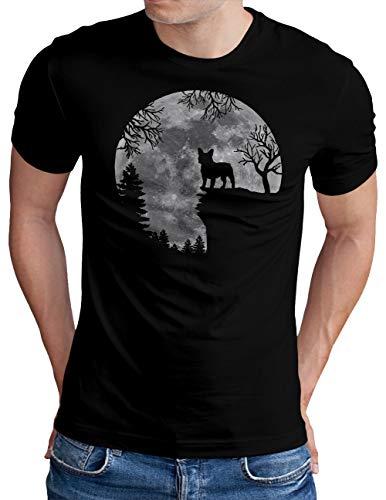 OM3® Französische Bulldogge T-Shirt | Herren | Full Moon Dog French Bulldog | Schwarz, XL
