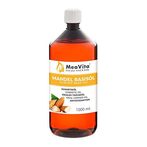 MeaVita Mandelöl Basisöl, süß, 1er Pack (1 x 1000 ml), vegan, gentechnikfrei, ideal zur Haut- und Haarpflege, für Aromatherapie & als Basisöl für Massageöle oder Naturkosmetik