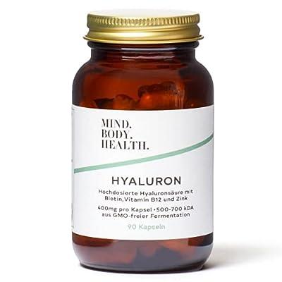 Vegane Hyaluronsäure Kapseln hochdosiert mit Biotin, Vitamin B12 und Zink – 400mg Hyaluron pro Kapsel – für Haut und Haare