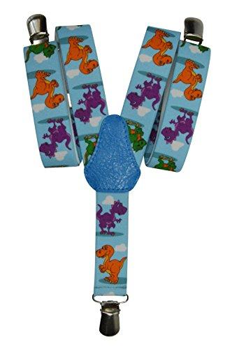 Olata Bretelle Elasticizzata per Bambini 1-5 Anni, Y' Clip design, Dinosauro Modello - Blu Chiaro